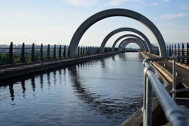 Concrete arches spanning a waterway