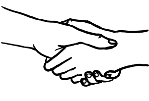 Line drawing of a handshake