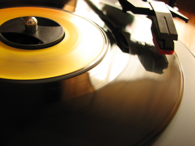 A vinyl record being played