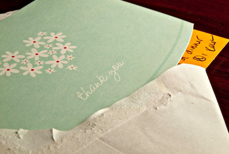 A beautiful flower-themed thank you card